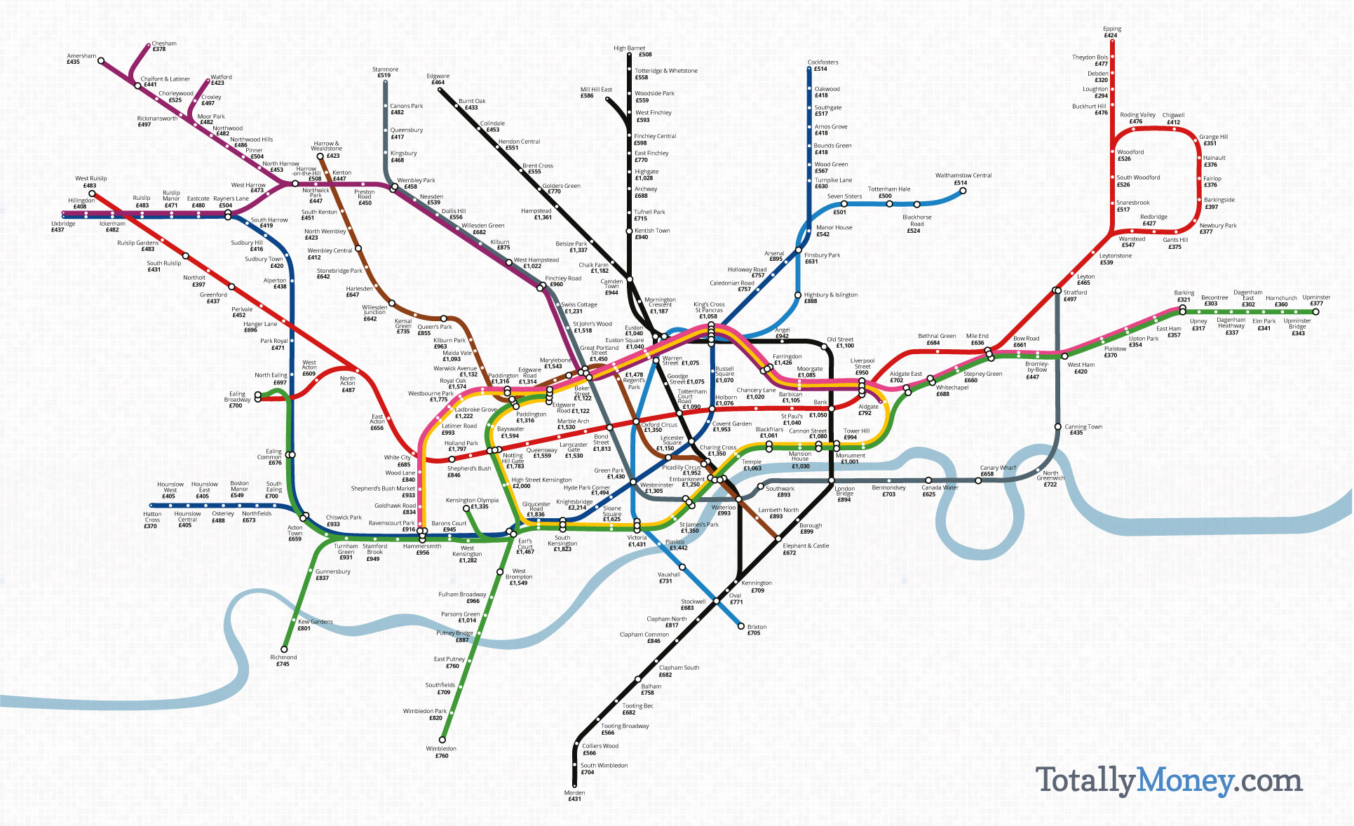 London Underground Subway Map.London Underground Map Shows The Price Per Square Foot Of Property